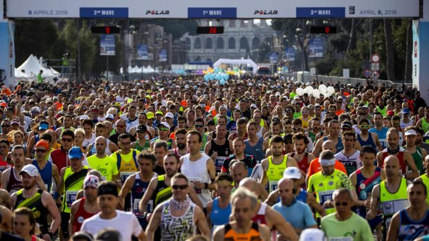 Participants at the XXIV edition of the Rome Marathon, Italy, 08 April 2018. ANSA/ANGELO CARCONI