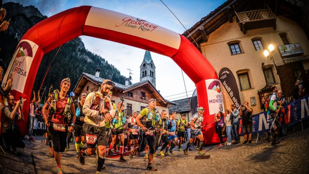 Gressoney-Saint-Jean, Aosta, Italy. July, 28th, 2017. Monte Rosa Walser Trail 2017. The itinerary of the trails was conceived by Bruno Brunod (pluri Sky running champion and forte di Bard running team members). Trails go throught unique Alpine landscapes around Monte Rosa and Walser culture lands. Three competition: trail 114 km 8.240 m D+ altitude range, as UTMB qualifying race 2017, trail 50 km 3.940 m D+ altitude range, trail 20 km 850 m D+ altitude range. Special run 4,2 km 200 m D+ altitude range. Damiano Benedetto/ Staff photographer