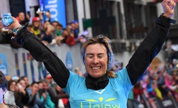 Ultra-trailer Francesca Canepa from Italy celebrates as she crosses the finish line during the 170 km Mount Blanc Ultra Trail (UTMB) women race around the Mont-Blanc crossing France, Italy and Swiss, on September 1, 2018 in Chamonix Mont-Blanc. - The 16 th Ultra-Trail du Mont-Blanc (UTMB) is a mountain ultramarathon with numerous passages in high altitude (>2500m) and in difficult weather conditions (night, wind, cold, rain or snow). It takes place once a year in the Alps, across France, Italy and Switzerland. (Photo by JEAN-PIERRE CLATOT / AFP) (Photo credit should read JEAN-PIERRE CLATOT/AFP/Getty Images)