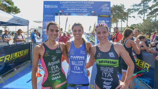 Arpinelli, Mallozzi, Priarone sul podio dei Tricolori di Lignano (foto Ballabio/FITRI)
